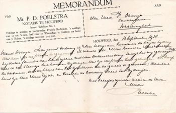 Briefkaart notaris Poelstra Holwerd