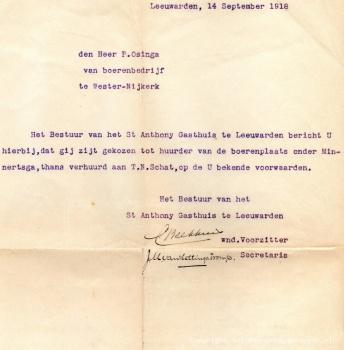 Brief van bestuur St. Anthony Gasthuis