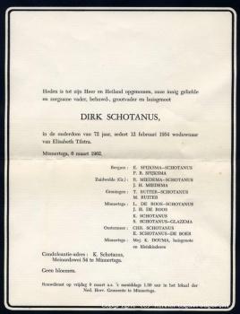 Rouwbrief Dirk Schotanus