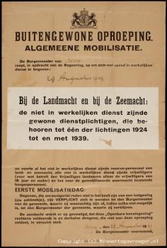 Pamflet Buitengewone Oproeping Algemeene Mobilisatie 1939