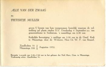 Trouwkaart Van der Zwaag - Muller