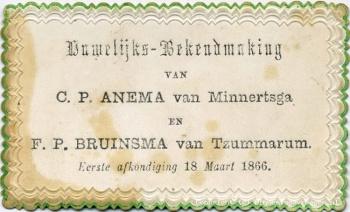 Huwelijks-bekendmaking Anema - Bruinsma