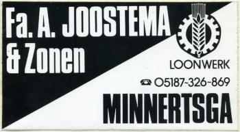 Reclame sticker Loonbedrijf Joostema