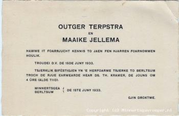 Trouwkaart Terpstra - Jellema