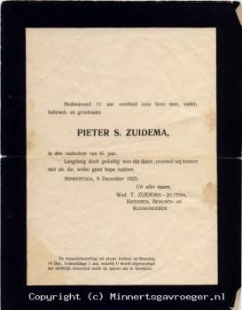 Rouwbrief Pieter S. Zuidema