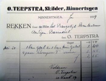 Rekening Schildersbedrijf Terpstra 1939