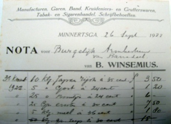Nota B. Winsemius 1922