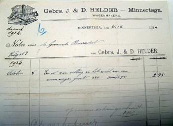 Nota Gebr. J. & D. Helder 1924