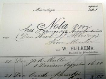 Nota W. Hijlkema 1921