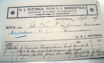 Nota H.J. Pettinga 1927