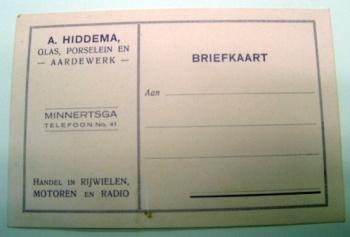 Briefkaart A. Hiddema