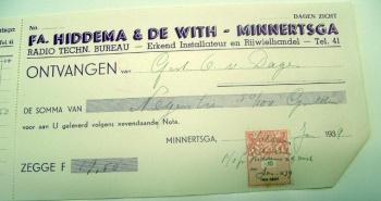 Kwitantie Hiddema - De With 1939