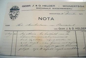 Nota Gebr. J. & D. Helder 1930