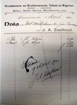 Nota J.A. Zoethout 1921