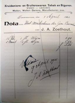 Nota J.A. Zoethout 1921