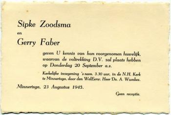 Trouwkaart Sipke Zoodsma en Gerry Faber