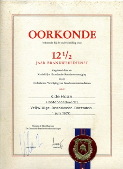 Oorkonde Brandweer Klaas de Haan (1921-1994)