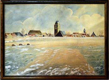 Schilderij zicht op Minnertsga