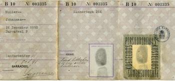 Persoonsbewijs Johannes Muller (binnenkant