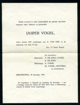 Rouwbrief Jasper Vogel