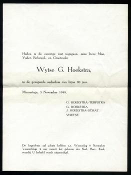 Rouwbrief Wijtse G. Hoekstra