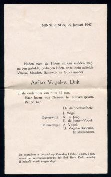 Rouwbrief Aafke van Dijk
