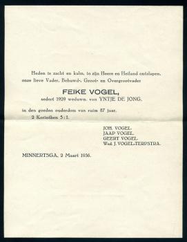 Rouwbrief Feike Vogel