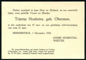 Rouwkaart Trijntje Oberman
