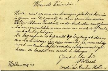 Briefkaart overlijden Hiltje Zuidema