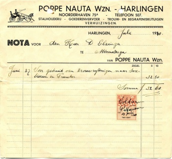 Rekening Poppe Nauta - Harlingen