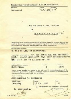 Kennisgeving Hinderwetvergunning (1952)
