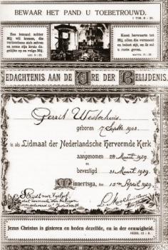 Gedachtenis Belijdenis Gerrit Westerhuis