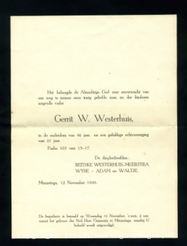 Rouwkaart Gerrit Wijbes Westerhuis