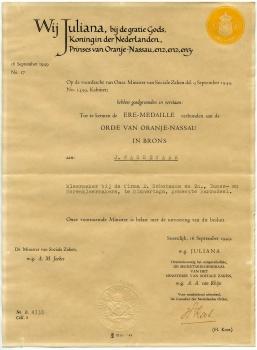 Oorkonde J Wassenaar Orde Oranje Nassau Brons 16-09-1949.jpg