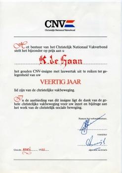 CNV 40 jaar Klaas de Haan