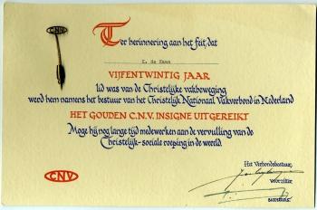 Herinnering 25 jaar lid CNV Klaas de Haan
