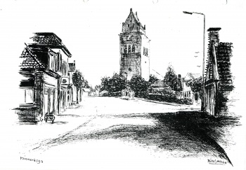 Tekening zicht op toren - Meinardswei