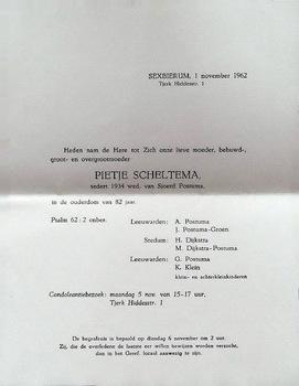 Rouwkaart Pietje Scheltema