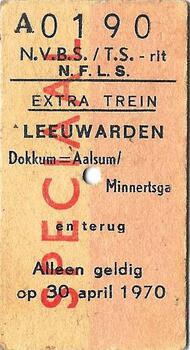 Speciaal treinkaartje N.F.L.S.
