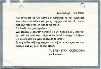 Bedankkaart Y. Stienstra - Coehoorn