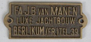 Naambord fa. J.B. van Manen