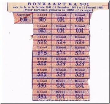 Bonkaart brood